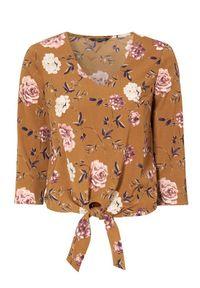 Bluzka Happy Holly z dekoltem w serek, krótka, w kwiaty