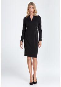 Nife - Sukienka z Dekoltem w Szpic - Czarna. Kolor: czarny. Materiał: wiskoza, nylon, poliester