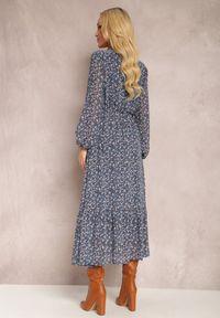 Renee - Granatowa Sukienka Erasakos. Kolor: niebieski. Wzór: kwiaty, aplikacja. Długość: maxi #4