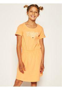 Pomarańczowa sukienka TOMMY HILFIGER na co dzień, prosta, casualowa