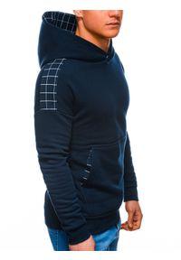 Ombre Clothing - Bluza męska z kapturem B1207 - granatowa - XXL. Typ kołnierza: kaptur. Kolor: niebieski. Materiał: poliester, dzianina, bawełna. Wzór: kratka