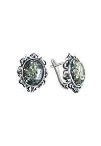 Polcarat Design - Srebrne kolczyki z zielonym bursztynem K3 1661. Materiał: srebrne. Kolor: srebrny, zielony, wielokolorowy. Wzór: aplikacja. Kamień szlachetny: bursztyn