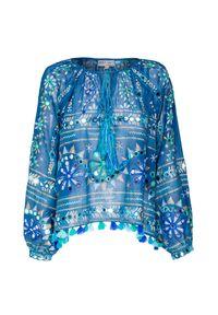 Niebieska bluzka Juliet Dunn długa, z aplikacjami, na lato