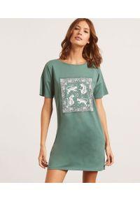 Zielona koszula nocna Etam krótka, z nadrukiem