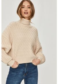 Beżowy sweter Answear Lab długi, z golfem, wakacyjny, gładki