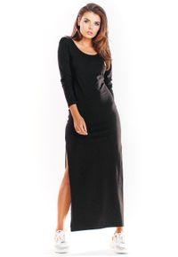 Infinite You - Bawełniana sukienka maxi z długim rękawem. Materiał: bawełna. Długość rękawa: długi rękaw. Typ sukienki: proste, wyszczuplające. Długość: maxi