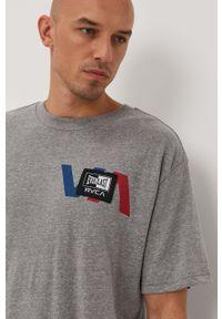 Szary t-shirt RVCA casualowy, na co dzień, z nadrukiem