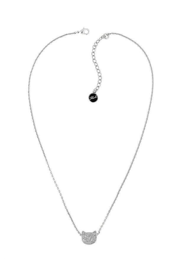 Srebrny naszyjnik Karl Lagerfeld z kryształem, metalowy