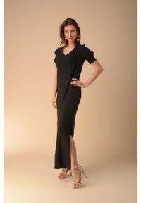 Czarna sukienka wizytowa Nommo maxi, prosta