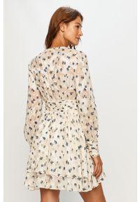 Kremowa sukienka Miss Sixty w kwiaty, z długim rękawem, na co dzień
