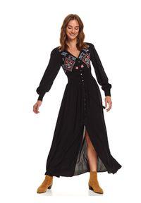 Czarna sukienka TOP SECRET z haftami, koszulowa