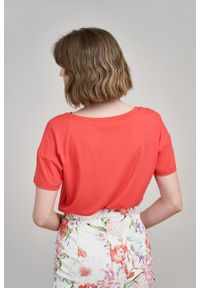 Marie Zélie - Bluzka Dioniza czerwień wiosenna krótki rękaw. Kolor: czerwony. Materiał: wiskoza, dzianina, materiał, elastan, tkanina. Długość rękawa: krótki rękaw. Długość: krótkie. Sezon: wiosna
