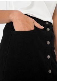 Spódnica dżinsowa ze stretchem bonprix czarny denim. Kolor: czarny. Materiał: denim