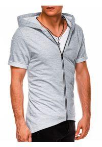 Ombre Clothing - Bluza męska rozpinana z krótkim rękawem B960 - szara - XL. Typ kołnierza: kaptur. Kolor: szary. Materiał: dzianina, bawełna, poliester. Długość rękawa: krótki rękaw. Długość: krótkie. Wzór: gładki