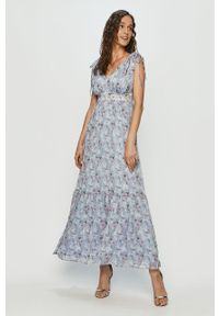 Niebieska sukienka Vila bez rękawów, casualowa, prosta, maxi
