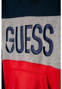 Wielokolorowa bluza Guess Jeans z aplikacjami, casualowa, z kapturem