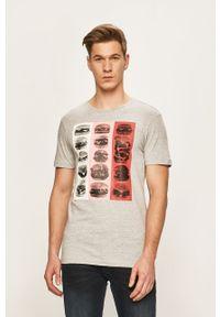 Szary t-shirt Blend z nadrukiem, casualowy, na co dzień
