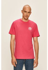 Różowy t-shirt Vans z okrągłym kołnierzem, casualowy, z nadrukiem