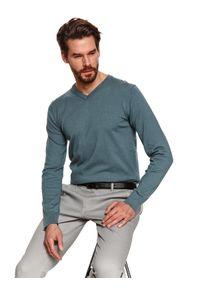 TOP SECRET - Sweter z miękkiej dzianiny. Okazja: do pracy. Typ kołnierza: dekolt w serek. Kolor: zielony. Materiał: dzianina. Długość: długie. Sezon: wiosna. Styl: elegancki