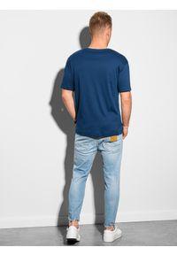 Ombre Clothing - T-shirt męski bawełniany S1386 - granatowy - XXL. Kolor: niebieski. Materiał: bawełna