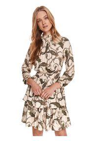 TOP SECRET - Sukienka w nadruk paisley. Typ kołnierza: kołnierzyk stójkowy. Kolor: beżowy. Materiał: tkanina. Długość rękawa: długi rękaw. Wzór: paisley, nadruk. Sezon: lato. Typ sukienki: proste. Długość: mini