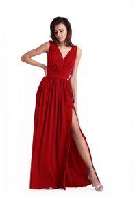 Czerwona sukienka wieczorowa IVON kopertowa, z kopertowym dekoltem, maxi