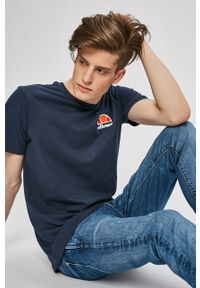 Niebieski t-shirt Ellesse na co dzień, casualowy, melanż