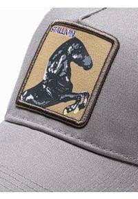 Ombre Clothing - Czapka męska z daszkiem H085 - szara - uniwersalny. Kolor: szary. Materiał: poliester