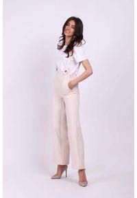 Nommo - Beżowe Spodnie z Prostymi Nogawkami na Szelkach. Kolor: beżowy. Materiał: wiskoza, poliester