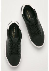 Czarne sneakersy Kurt Geiger London na średnim obcasie, z cholewką, z okrągłym noskiem