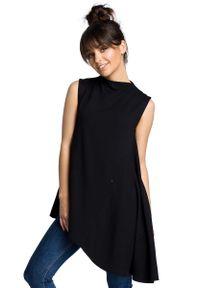 MOE - Czarna Dzianinowa Asymetryczna Bluzka bez Rękawów. Kolor: czarny. Materiał: dzianina. Długość rękawa: bez rękawów