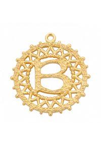 MOKOBELLE - Pozłacany naszyjnik z kulkami i literką 50-60 cm. Materiał: pozłacane. Kolor: złoty. Wzór: aplikacja, ażurowy