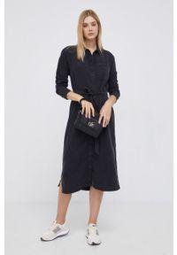 Lee - Sukienka. Okazja: na co dzień. Kolor: czarny. Materiał: włókno, tkanina. Wzór: gładki. Typ sukienki: proste. Styl: casual