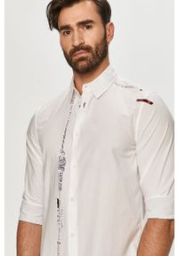 Biała koszula Desigual gładkie, długa, z klasycznym kołnierzykiem, klasyczna