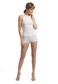 MOE - Krótkie Bawełniane Szorty do Spania - Białe. Kolor: biały. Materiał: bawełna. Długość: krótkie