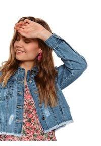 TOP SECRET - Denimowa krótka kurtka damska. Kolor: niebieski. Materiał: jeans, tkanina. Długość rękawa: długi rękaw. Długość: krótkie. Sezon: wiosna, lato