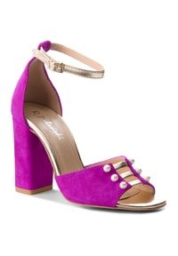 Fioletowe sandały R.Polański casualowe, z aplikacjami