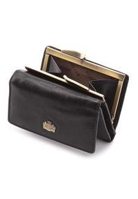 Wittchen - Damski portfel skórzany z herbem na bigiel. Kolor: czarny. Materiał: skóra