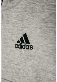 Szara bluza rozpinana adidas Performance z aplikacjami, casualowa, na co dzień, z kapturem