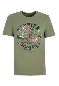 Brązowy t-shirt TOP SECRET elegancki, z nadrukiem, na lato, z klasycznym kołnierzykiem