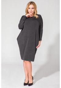Szara sukienka dla puszystych Tessita mini, plus size, z długim rękawem