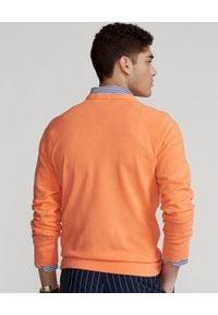 Ralph Lauren - RALPH LAUREN - Pomarańczowa bluza Spa Terry. Typ kołnierza: polo, bez kaptura. Kolor: pomarańczowy. Materiał: bawełna. Wzór: haft