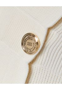 Elisabetta Franchi - ELISABETTA FRANCHI - Mini sukienka z odsłoniętymi ramionami. Okazja: na imprezę. Kolor: biały. Materiał: materiał. Sezon: lato, wiosna. Typ sukienki: z odkrytymi ramionami, dopasowane. Długość: mini