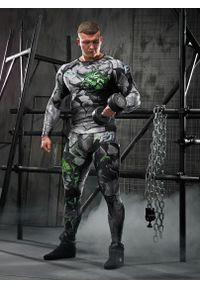 Zielona koszulka sportowa FJ! długa, z nadrukiem, na fitness i siłownię, z długim rękawem