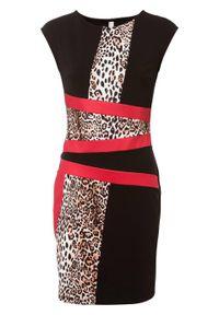 Sukienka ołówkowa w cętki leoparda bonprix czarno-czerwony. Kolor: czarny. Wzór: aplikacja, nadruk. Typ sukienki: ołówkowe. Styl: elegancki
