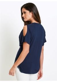Shirt z wycięciami na ramionach bonprix ciemnoniebieski. Kolor: niebieski. Materiał: koronka. Wzór: koronka