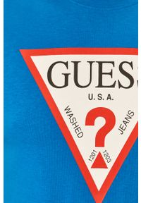 Niebieski t-shirt Guess Jeans z nadrukiem, z okrągłym kołnierzem, na co dzień, casualowy