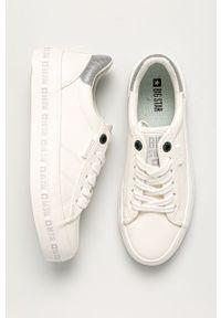 Białe buty sportowe Big-Star na sznurówki, z okrągłym noskiem, z cholewką