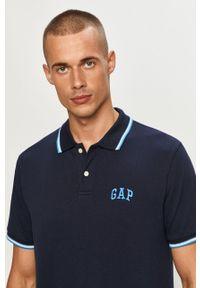 Niebieska koszulka polo GAP na co dzień, z aplikacjami, krótka, casualowa