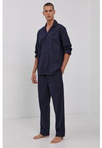 BOSS - Boss - Piżama. Kolor: niebieski. Materiał: tkanina. Długość: długie